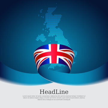 Great Britain flag background. Mosaic map, flag of great britain on a blue white background. National poster of the united kingdom. Vector design. United Kingdom state patriotic banner, flyer, cover