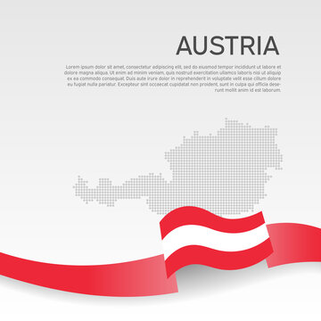 Austria wavy flag and mosaic map on white background. Austria flag wavy ribbon color. National poster design. State Austrian patriotic banner, flyer. Business booklet. Vector illustration