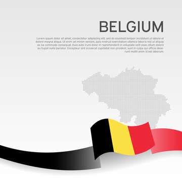 Belgium wavy flag and mosaic map on white background. Belgium flag color wavy ribbon. National poster design. State belgian patriotic banner, flyer. Business booklet. Vector illustration