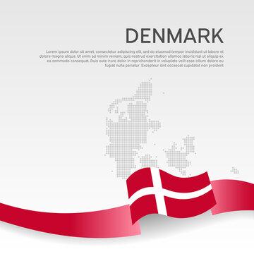 Denmark wavy flag and mosaic map on white background. Denmark flag color wavy ribbon. National poster design. State danish patriotic banner, flyer. Business booklet. Vector illustration