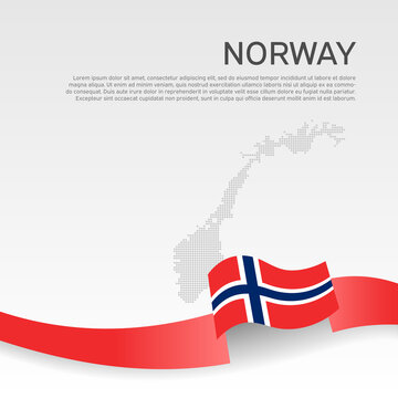 Norway wavy flag and mosaic map on white background. Flag of norway with wavy ribbon. National poster design. Business booklet. State Norwegian patriotic banner, flyer. Vector illustration