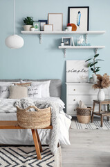 Wall Mural - Interior of modern stylish bedroom with shelves
