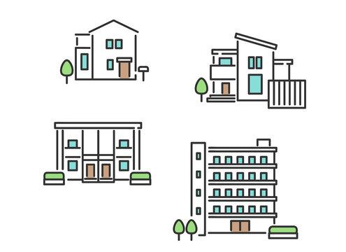 一軒家やマンションなどの不動産のイメージイラスト素材