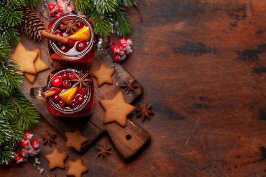 Christmas greeting card with cookies and mulled wine