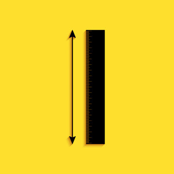 Black The measuring height and length icon isolated on yellow background. Ruler, straightedge, scale symbol. Long shadow style. Vector.