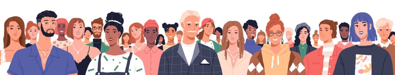 Portrait of diverse people standing together vector flat illustration. Group man and woman of different nationality and ages isolated. United of various generations. Social diversity or population