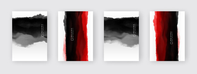 vector black and red ink brush stroke set