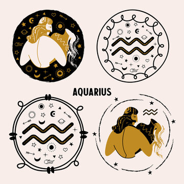 Horoscope and astrology. The zodiac sign Aquarius. Black and gold. Vector illustration in a flat style.