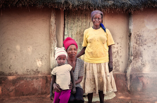 African family in the village