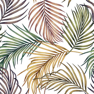 Watercolor painting colorful tropical green,pink leaves seamless pattern background.Watercolor hand drawn illustration tropical exotic leaf prints for wallpaper,textile Hawaii aloha summer style.