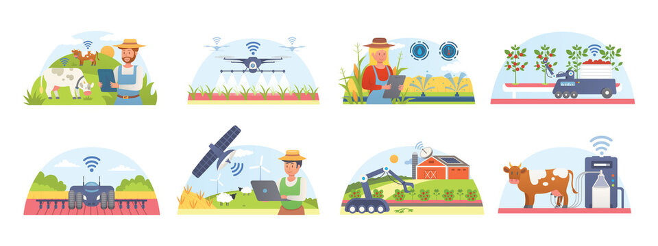 Smart farm and agriculture set of isolated vector illustrations. Farmers technology information systems. Agricultural automation and robotics. GPS control, farming data, survey drones, agribots.