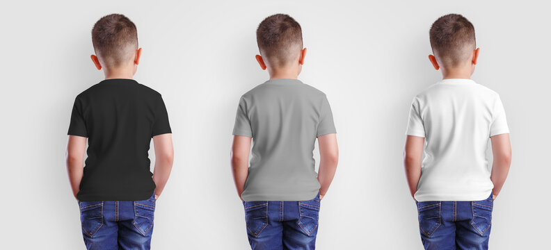 Mockup of white, gray, black baby clothes on junior, back view, blank apparel on boy for design presentation.