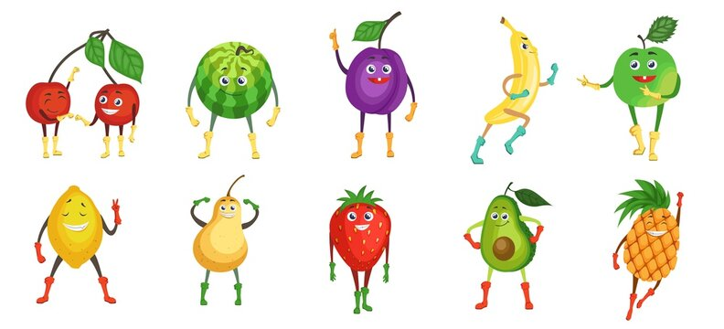 Cute and funny fruit character set, flat vector illustration. Summer fruits and berries. Happy cartoon cherry, watermelon, plum, banana, apple, lemon, pear, strawberry, avocado, pineapple with faces.