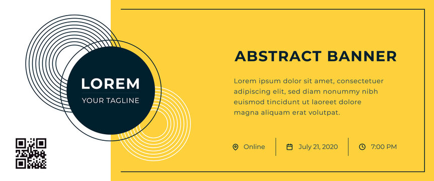 Abstract banner with logo and contact information on yellow background. Vector template for webinar, conference, e-mail, flyer, meetup, party, event, web header