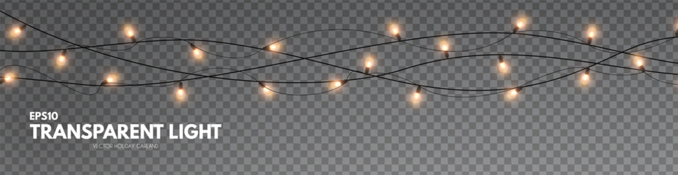 Light garland on transparent background. Shining Christmas lights