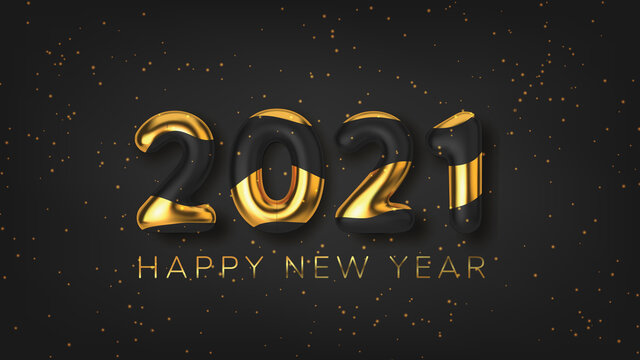 Inscription 2021 Happy new year background in realistic style on black background. Vector illustration.