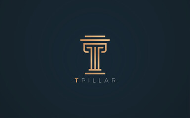 Fototapeta Pillar logo formed letter T with Luxurious gold and silver color obraz