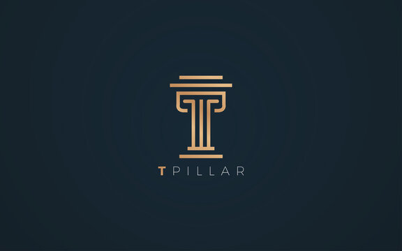 Pillar logo formed letter T with Luxurious gold and silver color