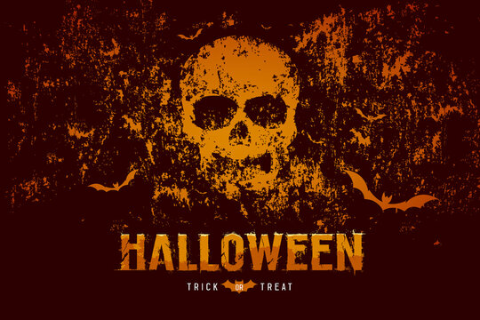 Halloween skull and bat on rough surface orange and black background, Eps 10 vector illustration