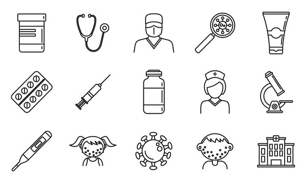 Health chicken pox icons set. Outline set of health chicken pox vector icons for web design isolated on white background