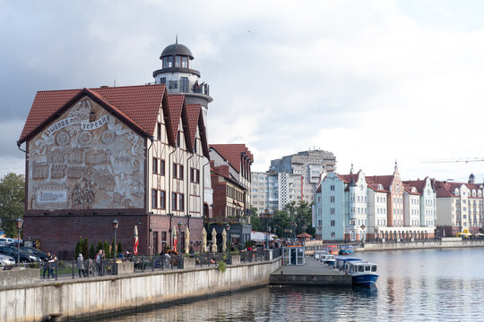 Buildings of Fishing Village in Kaliningrad, Kaliningrad, Russia, october 2020