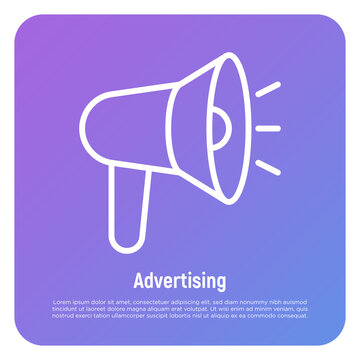 Advertising thin line icon. Megaphone, annoucement, marketing. Vector illustration.