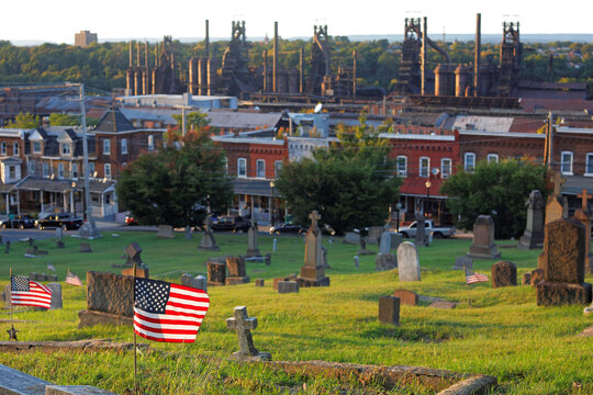 U.S. flags stand in a cemetery in Bethlehem
