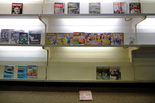 Magazines stand on the shelves Bray's News Stand in Bangor