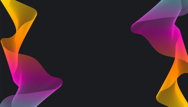 Abstract stylish modern banner design with trendy multicolor gradient wave on dark background. Fluid gradients for banners, posters, covers.