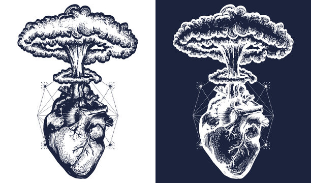 Nuclear explosion of anatomical heart. Tattoo and t-shirt design surreal graphic. Symbol of love, feelings, energy. Black and white vector graphics