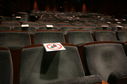 Covid-19 approved and non approved seats in the theatre