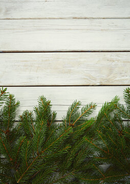 twigs of fir on wooden surface