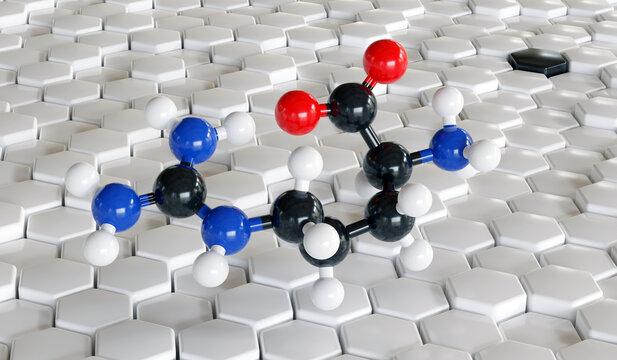 Arginine (L-arginine, Arg, R) amino acid molecule. 3D rendering.