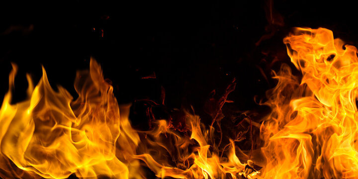 Realistic fire Stock Image In Black Background