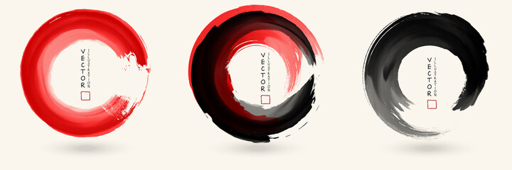 Black and red ink round stroke set
