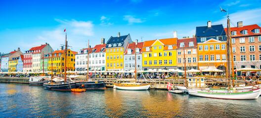 Wide panoramic view of Nyhavn harbour in Copenhagen, Denmark