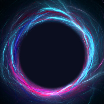 Abstract colorful blue and violet fractal lightning circle border on black background. Copy space for logo, text, 3D rendering