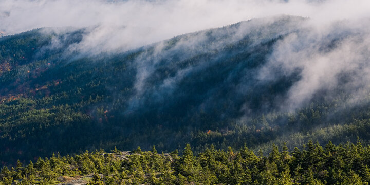 A foggy autumn morning on top of Mount Monadnock in Jaffrey New Hampshire