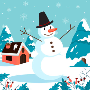 Merry christmas greeting card with making snowman
