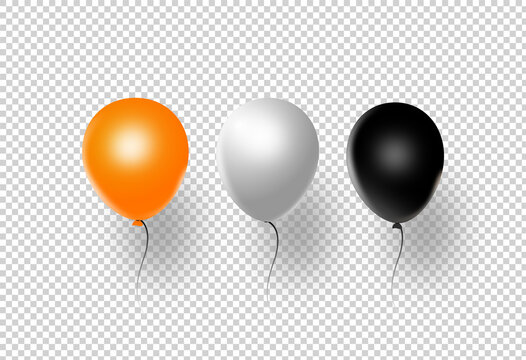 Halloween party  banner, orange  white , black , air balloons isolated  on png or transparent  background, vector illustration