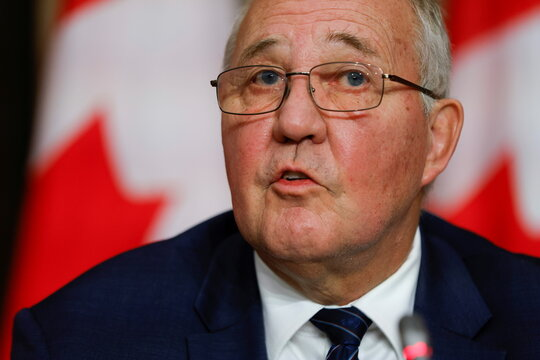 Canada's Minister of Public Safety and Emergency Preparedness Bill Blair takes part in a news conference about the dispute between commercial and Mi'kmaw lobster fishers in Nova Scotia, on Parliament Hill in Ottawa