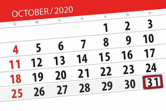 Calendar planner for the month october 2020, deadline day, 30, friday