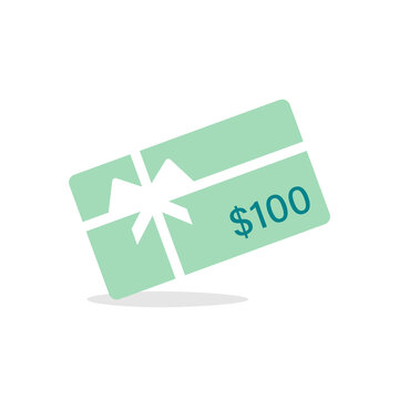 100 Dollars Gift card icon. Clipart image isolated on white background.