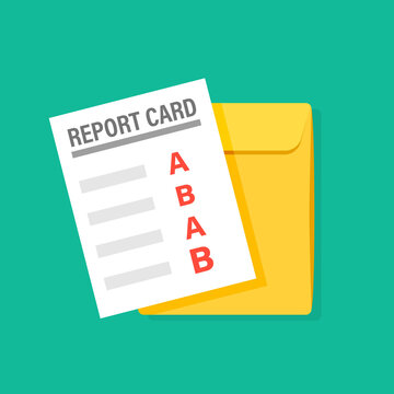 A and B report card illustration. Clipart image.