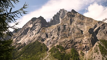 Wall Mural - Scenic Summer Landscape of Mont Blanc Massif in Northern Italy