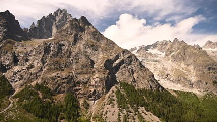 Wall Mural - Mont Blanc Massif in Northern Italy Summer Scenery. Alpine Landscape.