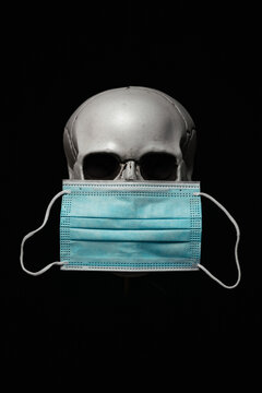 Human Skull with Surgical Mask