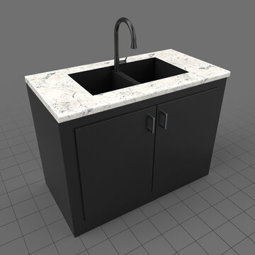 Modern kitchen sink and cabinets