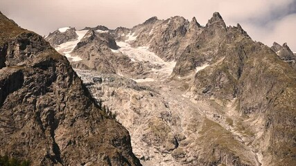 Wall Mural - Mont Blanc Massif Glaciers and Granite Peaks Close Up Summer Scenery.