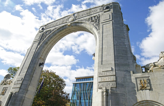 Arch at Bridge of Remembrance on a cloudy day. Landmark located at City Center in Christchurch, New Zealand.